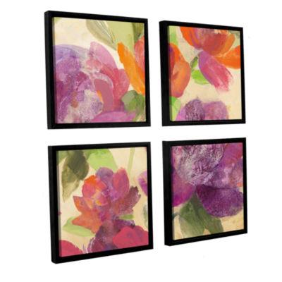 Brushstone Garden Delight IV 4-pc. Square FloaterFramed Canvas Wall Art
