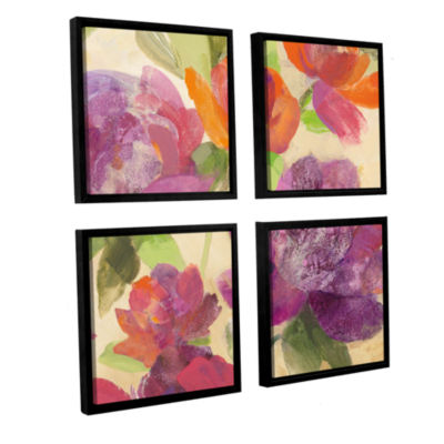 Brushstone Garden Delight IV 4-pc. Square FloaterFramed Canvas Wall Art