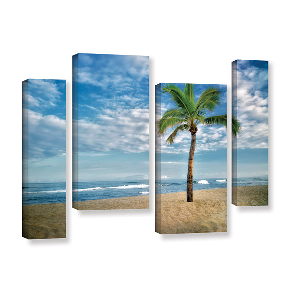 Brushstone Blue and Green 4-pc. Gallery Wrapped Canvas Staggered Set