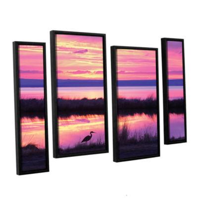 Brushstone Sunset Crane 4-pc. Floater Framed Staggered Canvas Wall Art