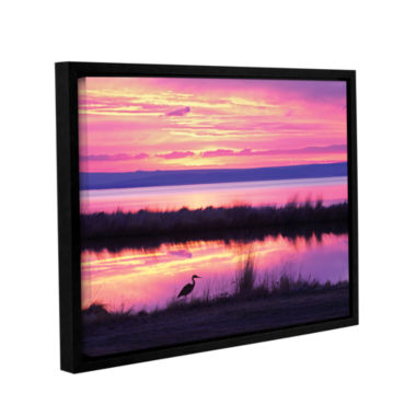 Brushstone Sunset Crane Gallery Wrapped Floater-Framed Canvas Wall Art