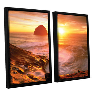 Brushstone Tide Rolls In 2-pc. Floater Framed Canvas Set