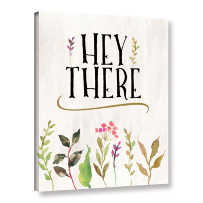 Brushstone Hey There Flowers Cream BG Gallery Wrapped Canvas Wall Art