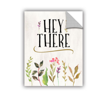 Brushstone Hey There Flowers Cream BG Removable Wall Decal