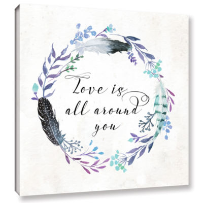 Brushstone Love is All Around You Square Gallery Wrapped Canvas