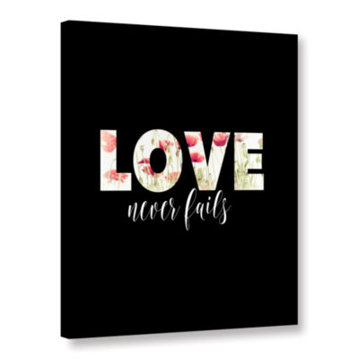 Brushstone Love Never Fails Floral Gallery WrappedCanvas