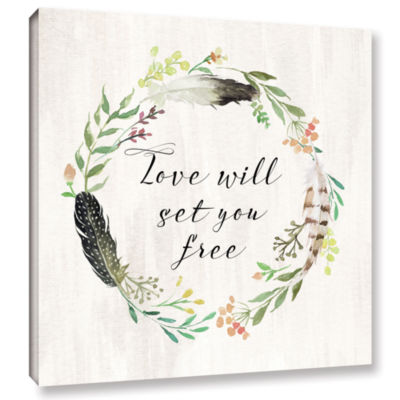 Brushstone Love will set you free Square Gallery Wrapped Canvas Wall Art