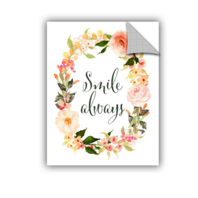Brushstone Smile Always Wreath Removable Wall Decal