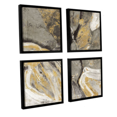 Brushstone Pheonix Neutral 4-pc. Square Floater Framed Canvas Wall Art