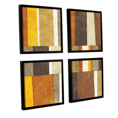 Brushstone Neutral and Spice Abstract 4-pc. Square Floater Framed Canvas Wall Art