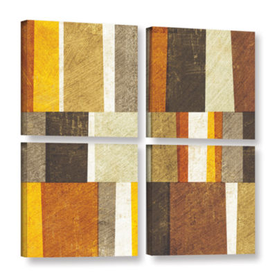 Brushstone Neutral and Spice Abstract 4-pc. SquareGallery Wrapped Canvas Wall Art