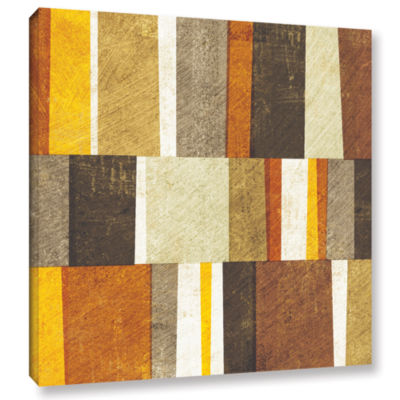 Brushstone Neutral and Spice Abstract Gallery Wrapped Canvas Wall Art