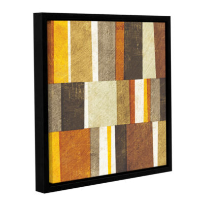 Brushstone Neutral and Spice Abstract Gallery Wrapped Floater-Framed Canvas Wall Art