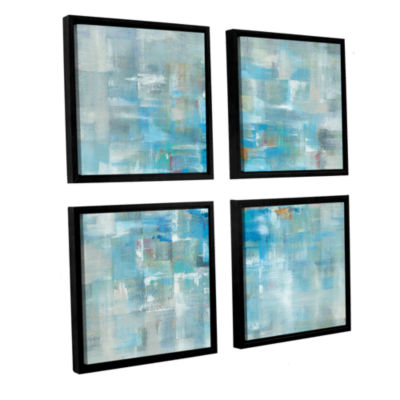 Brushstone Abstract Squares 4-pc. Square Floater Framed Canvas Wall Art