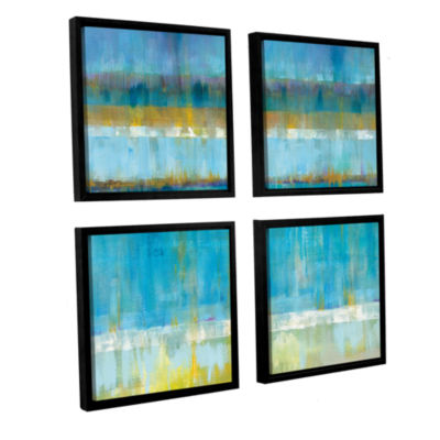 Brushstone Abstract Stripes 4-pc. Square Floater Framed Canvas Wall Art