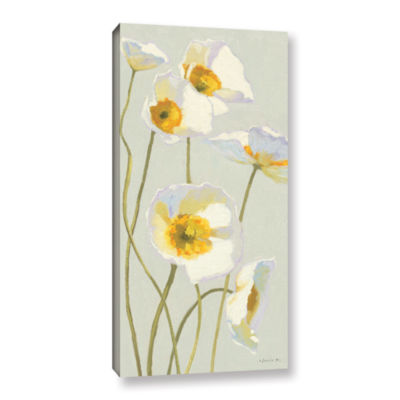 Brushstone White On White Poppies I Gallery Wrapped Canvas Wall Art