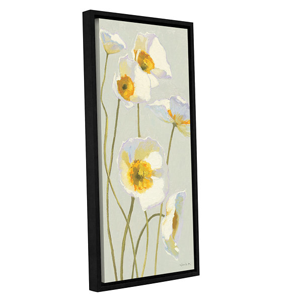 Brushstone White On White Poppies I Gallery Wrapped Floater-Framed Canvas Wall Art
