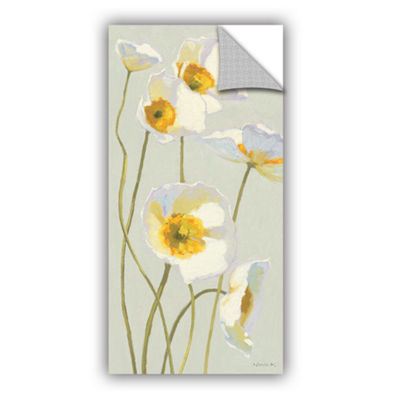 Brushstone White On White Poppies I Removable WallDecal