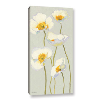 Brushstone White On White Poppies II Gallery Wrapped Canvas Wall Art