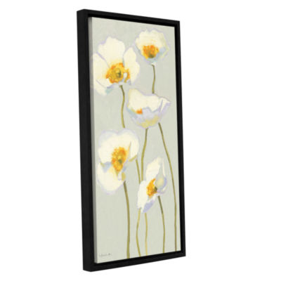 Brushstone White On White Poppies II Gallery Wrapped Floater-Framed Canvas Wall Art