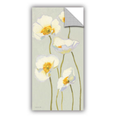 Brushstone White On White Poppies II Removable Wall Decal