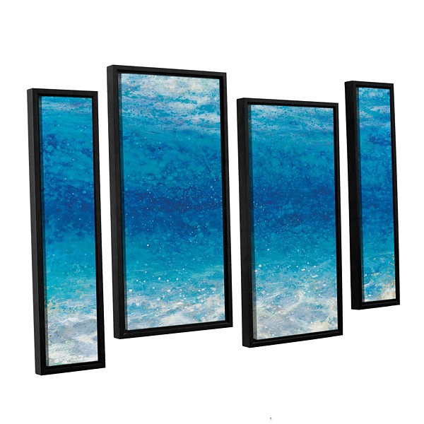 Brushstone Underwater I 4-pc. Floater Framed Canvas Staggered Set