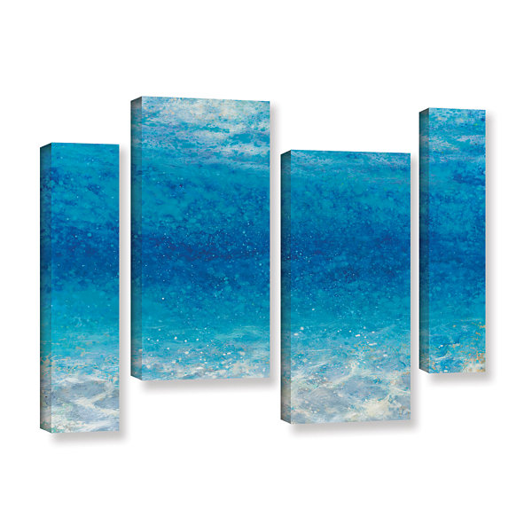 Brushstone Underwater I 4-pc. Gallery Wrapped Canvas Staggered Set