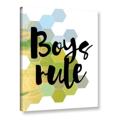 Brushstone Boys Rule Gallery Wrapped Canvas