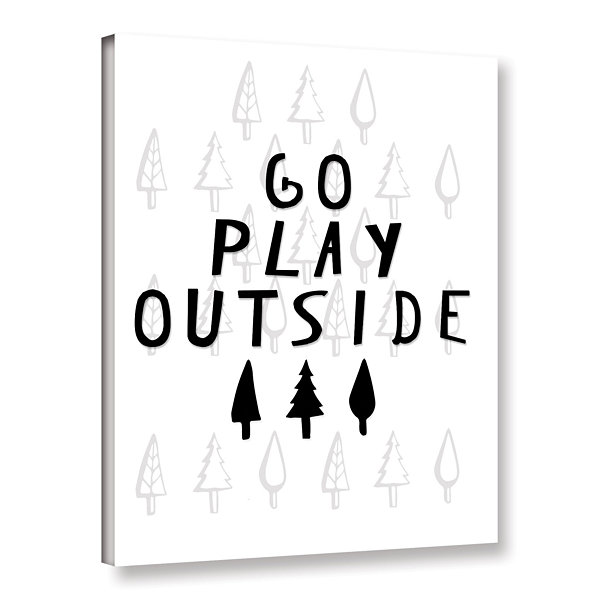 Brushstone Go Play Outside Black And White GalleryWrapped Canvas Wall Art