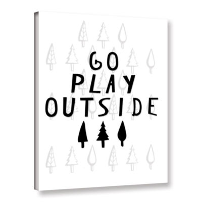 Brushstone Go Play Outside Black And White GalleryWrapped Canvas