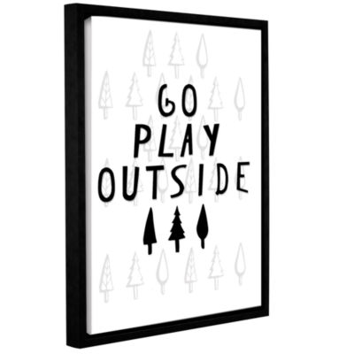 Brushstone Go Play Outside Black And White GalleryWrapped Floater-Framed Canvas