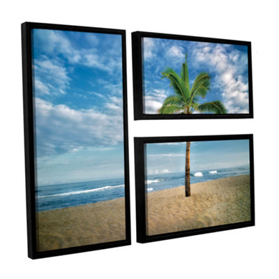 Brushstone Blue and Green 3-pc. Floater Framed Canvas Flag Set