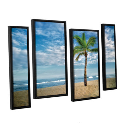 Brushstone Blue and Green 4-pc. Floater Framed Canvas Staggered Set