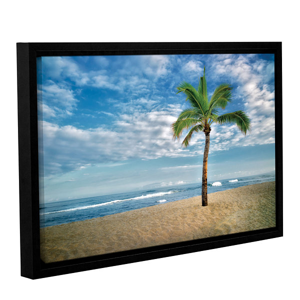 Brushstone Blue and Green Gallery Wrapped Floater-Framed Canvas