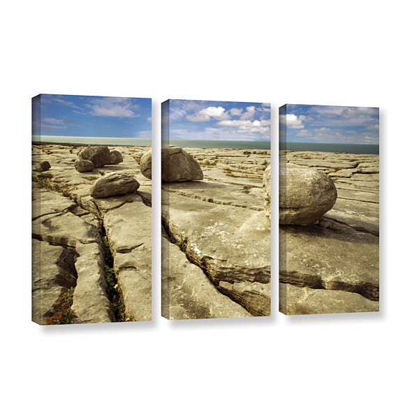 Brushstone Boulders 3-pc. Gallery Wrapped Canvas Set