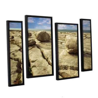 Brushstone Boulders 4-pc. Floater Framed Canvas Staggered Set