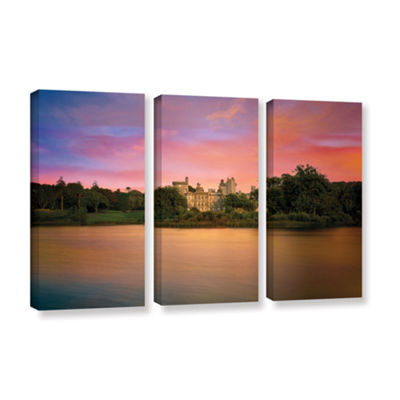 Brushstone Castle At Dusk 3-pc. Gallery Wrapped Canvas Set