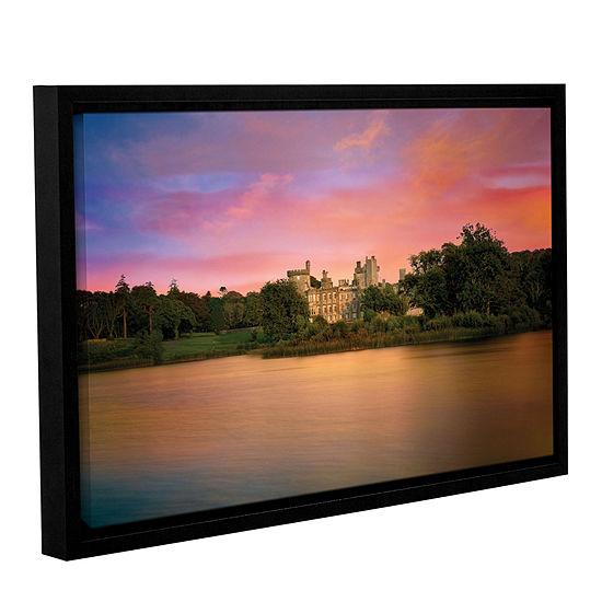 Brushstone Castle At Dusk Gallery Wrapped Floater-Framed Canvas