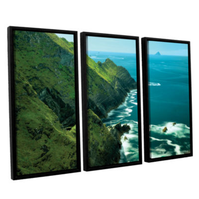 Brushstone Emerald Coast 3-pc. Floater Framed Canvas Set