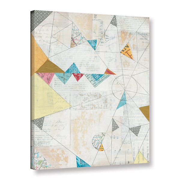 Brushstone Map Collage Gallery Wrapped Canvas WallArt