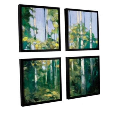 Brushstone Birches 4-pc. Square Floater Framed Canvas Wall Art