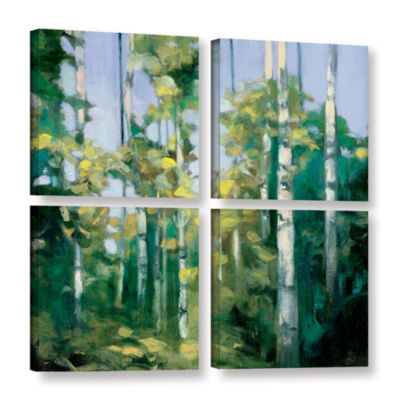 Brushstone Birches 4-pc. Square Gallery Wrapped Canvas Wall Art