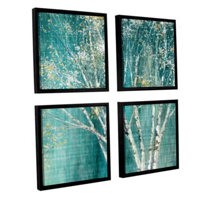Brushstone Blue Birch 4-pc. Square Floater Framed Canvas Wall Art