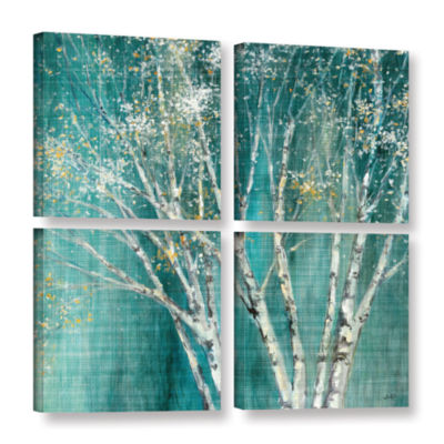 Brushstone Blue Birch 4-pc. Square Gallery Wrapped Canvas Wall Art