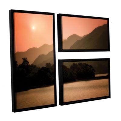 Brushstone Peach Dream 3-pc. Flag Floater Framed Canvas Wall Art