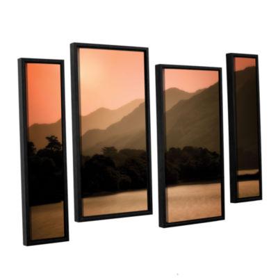 Brushstone Peach Dream 4-pc. Floater Framed CanvasStaggered Set