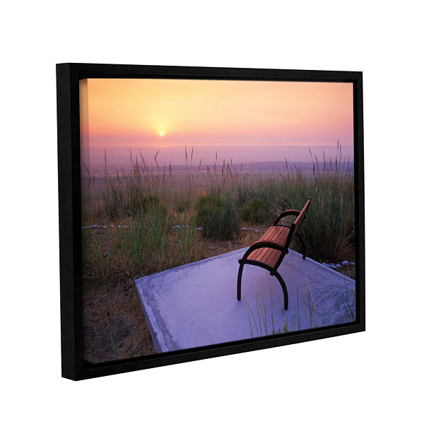 Brushstone Peach Sunset Gallery Wrapped Floater-Framed Canvas