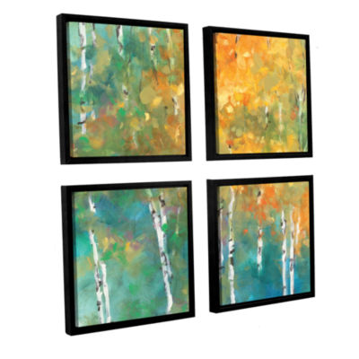 Brushstone Confetti II 4-pc. Square Floater FramedCanvas Wall Art