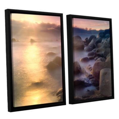 Brushstone Rocks And Water 2-pc. Floater Framed Canvas Set