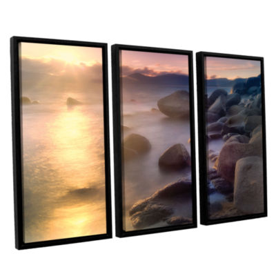Brushstone Rocks And Water 3-pc. Floater Framed Canvas Set